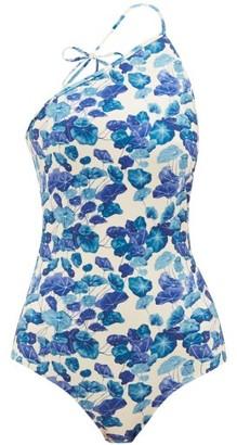 Adriana Degreas Asymmetric Lotus-print Swimsuit - Womens - Blue Print