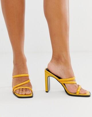 Asos Design DESIGN National padded heeled sandals-Yellow