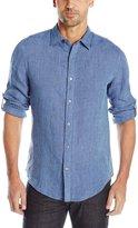 Perry Ellis Men's Rolled Sleeve Solid Linen Shirt