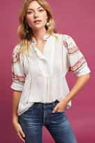 Akemi + Kin Embroidered High-Neck Blouse