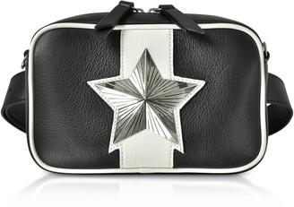 Les Jeunes Etoiles Black And White Leather Vega Belt Bag W/chain Strap