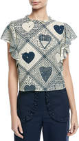 RED Valentino Heart-Print Stretch Crepe Flutter-Sleeve Top