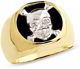 Zales Men's Onyx Skull and Crossbones Ring in 10K Gold with Diamond Accents
