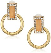 "T Tahari Lincoln Center"" Clip Door Knocker Gold Clip On Earrings"