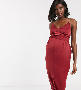 ASOS DESIGN Maternity cami midi dress with wrap waist in satin