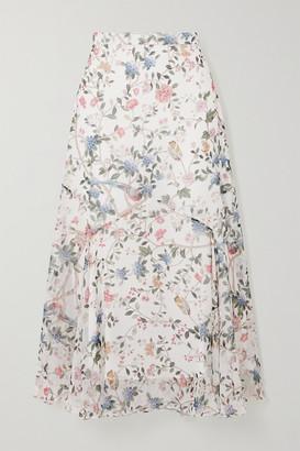 Erdem Shea Printed Silk-voile Midi Skirt - White