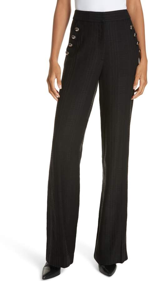 Veronica Beard Tuli Check Button Detail Pants