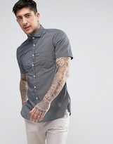 BOSS ORANGE by Hugo Boss Short Sleeve Shirt All Over Print Slim Fit in Navy