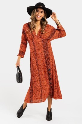 francesca's Rickie Patterned Button Maxi Dress - Coral
