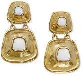 T Tahari Earrings, 14k Gold-Plated Ivory Resin Hammered Metal Drop Earrings
