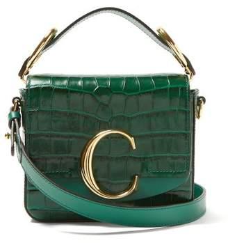 Chloé The C Mini Crocodile-effect Cross-body Bag - Womens - Green