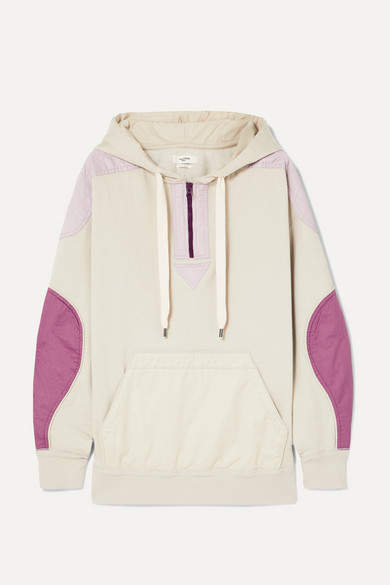 Etoile Isabel Marant Nansel Paneled Cotton-blend Jersey And Twill Hoodie - Neutral