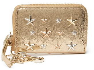 Jimmy Choo Cadet Star Studded Leather Zip Around Wallet