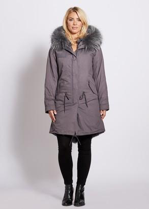 Popski London Popski London Grey 3-4 Length Parka With Matching Raccoon Fur Collar