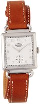 Shinola The Canfield Square Watch w/ Leather Strap, White/Bourbon