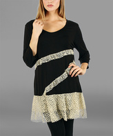 Lily Black & Cream Lace-Trim Tunic
