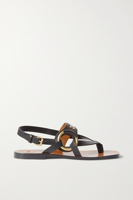 Chloé Ring-embellished Leather Sandals - Black