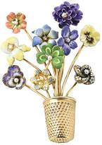 One Kings Lane Vintage 14K Gold & Enamel Flower Brooch