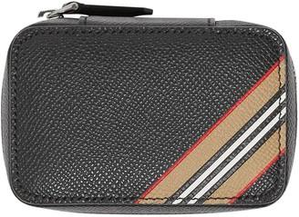 Burberry Icon stripe print leather cufflink case