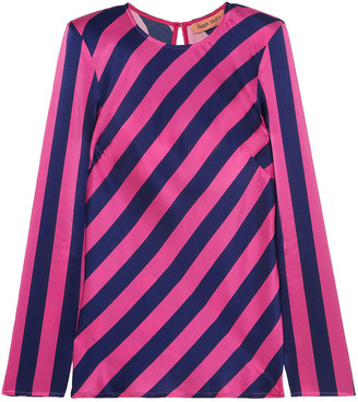 Maggie Marilyn I Wish You Well Open-back Striped Silk-satin Top