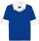 Mary Katrantzou Ella Embellished Cotton Poplin-trimmed Merino Wool Sweater - Bright blue
