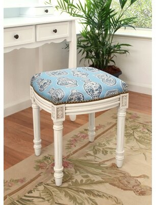 World Menagerie Lajoie Porcelain Linen Upholstered Wooden Vanity Stool Color: Blue