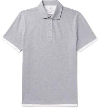 Brunello Cucinelli Slim-Fit Layered Melange Cotton-Pique Polo Shirt