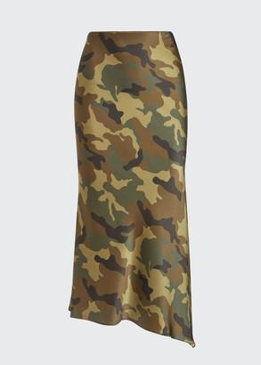 Alice + Olivia Maeve Asymmetric Midi Slip Skirt in Camouflage