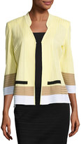 Ming Wang 3/4-Sleeve Colorblock Knit Jacket, Multi