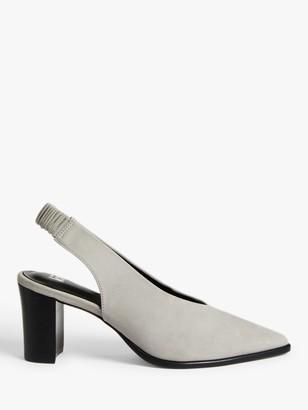 KIN Amaya Suede Slingback Block Heel Court Shoes