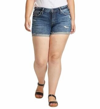 Silver Jeans Co. Women's Plus Size Suki Curvy Fit Mid Rise Shorts