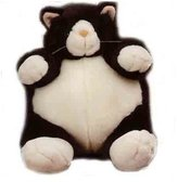 "Unipak Designs PLUMPEE BLACK AND WHITE CAT PLUSH TOY 9"" HIGH"