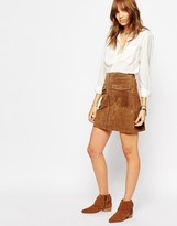 Pepe Jeans Zip Front 70s Suede Skirt