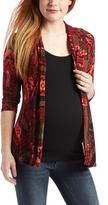 Glam Burgundy Geo Three-Quarter Sleeve Maternity Open Cardigan