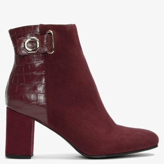 Daniel Rila Burgundy Suede Moc Croc Ankle Boots