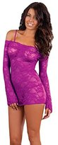 Puda Sexy Lace Rose Transparent Perspective Fun Pajamas Long-Sleeved Tight Net