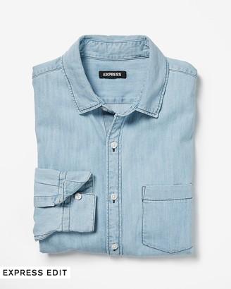 Express Slim Long Sleeve Light Wash Denim Shirt
