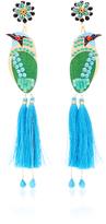 Mercedes Salazar Bird Blue Drop Tassel Earrings