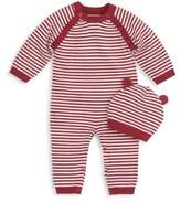 Elegant Baby Baby's Two-Piece Cotton Striped Coverall and Cap Set