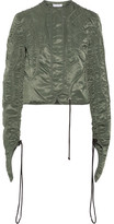 J.W.Anderson Cropped Textured Satin-twill Jacket - Army green