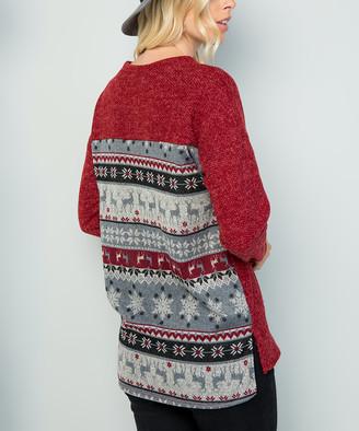 Celeste Women's Tunics BURGANDY/DEER - Red & Gray Snowflake Tunic - Women & Plus