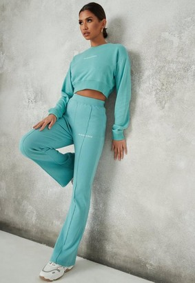Missguided Teal Rib Flare Fit Joggers