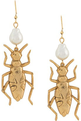 Oscar de la Renta Beetle Pendant Earrings