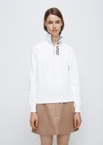Courreges blanc/noir logo zipped neck sweatshirt