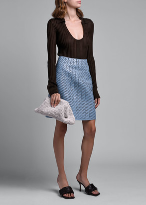 Bottega Veneta Ribbed Silk Scoop-Neck Polo Sweater