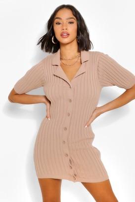 boohoo Chunky Rib Collar Knitted Dress