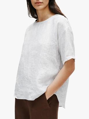Eileen Fisher Organic Linen Check Box Tunic Top, White
