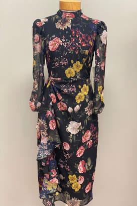 Eliza J Floral Chiffon Long Sleeve Midi