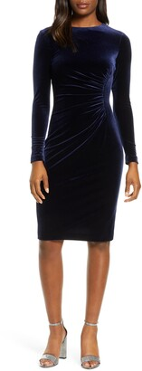 Harper Rose Long Sleeve Ruched Velvet Dress