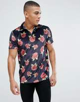 Asos Polo In All Over Floral Print Velour With Revere Collar